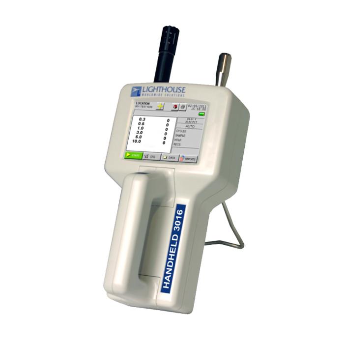 Máy đo nồng độ bụi, kích thước hạt bụi cầm tay dùng để đo nồng độ bụi trong không khí. Với 6 kênh đo, kích thước hạt bụi từ 0.2-25µm